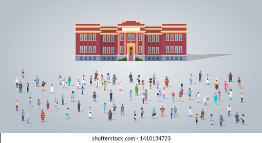 people group in front of school building different occupation employees mix race workers crowd education concept horizontal full length flat