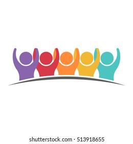 People Group Getting Along. Vector graphic design illustration