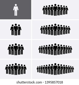 People Group Icons set. Crowd of people. Staff Icons. Vector