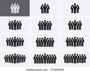 People Group Icons set. Crowd people Icons. Vector