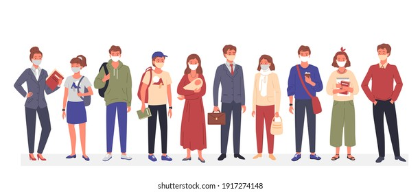 People group in medical mask vector illustration. Cartoon man woman characters standing together, wearing various casual clothes and protective mask to protect against coronavirus isolated on white