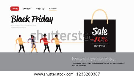 e5eafbc21a people group pulling shopping bag with big sale sign black friday special  offer super sale holiday