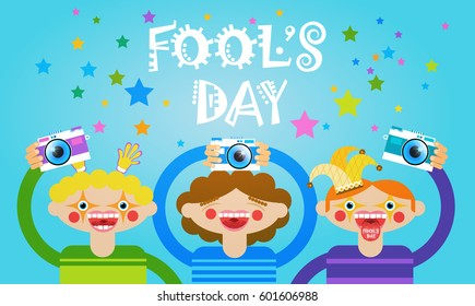 People Group Taking Photo First April Fool Day Happy Holiday Greeting Card Flat Vector Illustration
