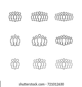 People group vector line icon set.Crowd signs. People symbols for infographics, logo, design.