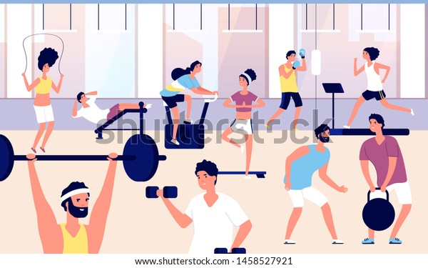 People Gym Athletes Group Doing Fitness Stock Vector Royalty Free 1458527921