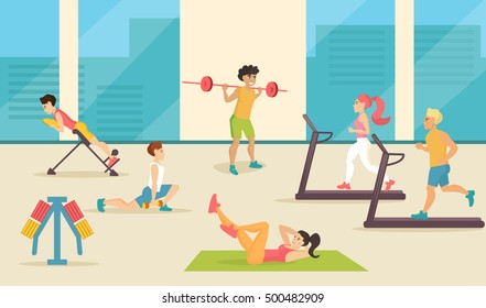 People in the gym. Vector illustration. Cartoon character. Isolated. Flat