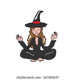 People Halloween witch meditation balance