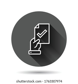 People hand with check mark icon in flat style. Accept vector illustration on black round background with long shadow effect. Approval choice circle button business concept.