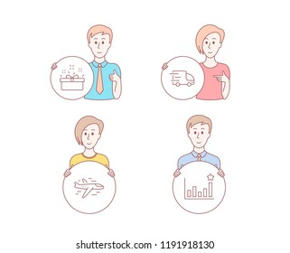 People hand drawn style. Set of Truck delivery, Present box and Airplane icons. Efficacy sign. Express service, Sale offer, Plane. Business chart.  Character hold circle button. Man with like hand