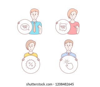 People hand drawn style. Set of Quick tips, Discount and Quickstart guide icons. Touchpoint sign. Helpful tricks, Special offer, Touch technology.  Character hold circle button. Man with like hand