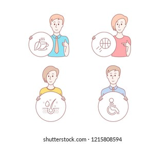 People hand drawn style. Set of Basketball, Serum oil and Mint tea icons. Disabled sign. Sport ball, Healthy hairs, Mentha beverage. Handicapped wheelchair.  Character hold circle button. Vector