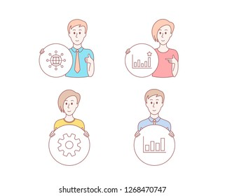 People hand drawn style. Set of Efficacy, Service and International globe icons. Report diagram sign. Business chart, Cogwheel gear, World networking. Financial market.  Character hold circle button