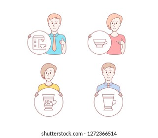 People hand drawn style. Set of Bombon coffee, Coffee machine and Frappe icons. Latte sign. Cafe bombon, Cappuccino machine, Cold drink.  Character hold circle button. Man with like hand. Vector