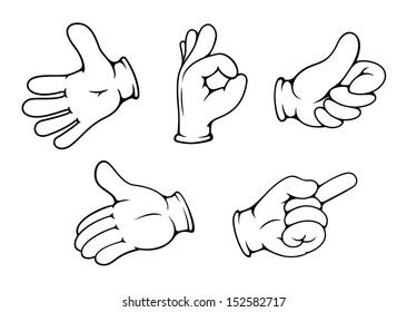 People hand gestures set in cartoon comics style. Jpeg version also available in gallery