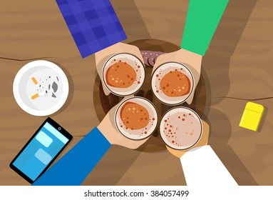 People Hand Group Hold Beer Glasses Bar Table Cheers Flat Vector Illustration