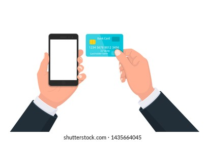 People hand holding the black smartphone with blank screen display and showing credit, debit, ATM, bank card. Modern lifestyle, digital technology cell phone concept illustration in cartoon style.