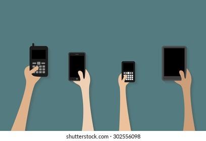 People hand holding black smartphone vector