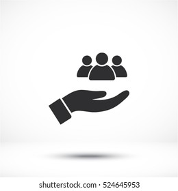 People in the hand icon