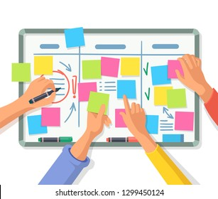 People hand using stickers on board. Blank or empty notes with exclamation and check marks. Pupil using message or information on adhesive paper sheets. Task and business planning, reminder theme