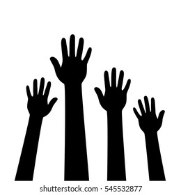 People hands raised. Vector illustration.