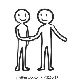 People handshake to complete the negotiation, business deal concept. Cartoon doodle vector design.