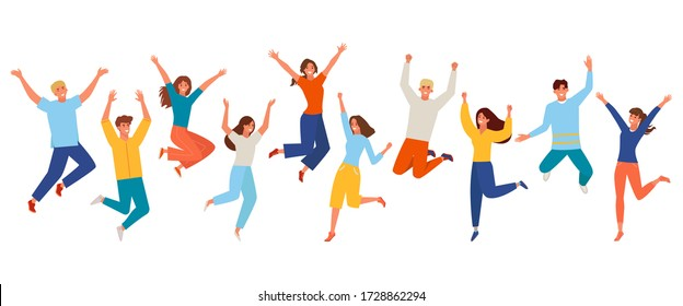 People happy jumping set. Young funny teens large group guy, girl, jumping together joy lifestyle celebration victory team smiling students celebrates success. Color cartoon vector.