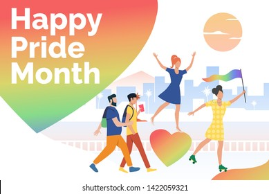 People in happy pride parade. Diversity, discrimination, freedom concept. Presentation slide template. Vector illustration can be used for topics like tolerance, homophobia, social rights