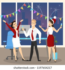 People have fun on the office christmas party set. Party in happy company of colleagues. New Year celebration on the work with champagne. Vector illustration in cartoon style