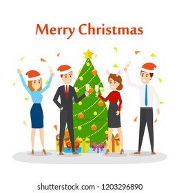 new year celebration on the work vector illustration in cartoon style people have fun on the office christmas party set party in happy company of