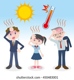 people have heatstroke, image illustration