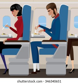 People have lunch on the plane - in-flight meal concept. Vector illustration