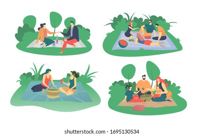 People have picnic in park, vector illustration isolated on white, flat style. Happy family with kids or group of friends sits on green grass, eats and drinks on picnic, spend summer weekend outdoors.
