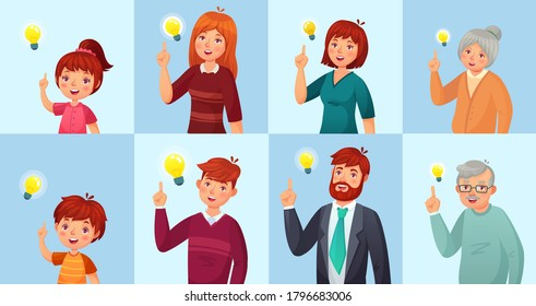 People have solution, ideas lamp bulb metaphor. Girl and boy, teenagers, male and female office workers brainstorming, generating ideas. Old grandfather and grandmother vector illustration