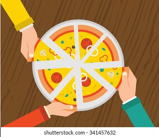 People having  dinner together and sharing a huge pizza , hands top view