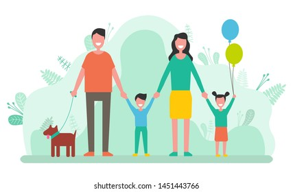 People having family day vector, man and woman with kids and pet. Mother and father with boy and girl, daughter and son with balloon and dog animal