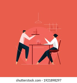 people having food and drink in restaurant concept