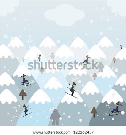 People having fun and making sports during winter holidays on a snowy mountain landscape with snow monsters