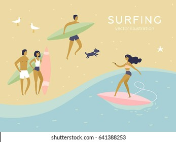 People having fun on the beach. Surfer girl and boy. Surfing poster. Isolated vector cartoon illustrations. Funny characters