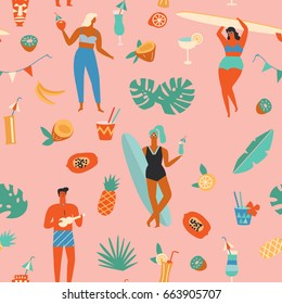 People having fun on the beach, drinking tropical cocktails and dancing seamless pattern. Summertime seamless pattern.