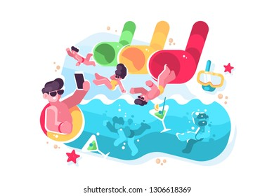 People having fun on water slides tubes at aquapark. Men and women riding down drinking cocktails and making selfie at waterpark flat vector illustration. Summer time attractions concept