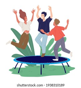 People having fun on weekends, man and woman jumping on trampoline. Friends resting in amusement park behaving like kids. Summertime or spring activity and relaxation for all. Vector in flat style