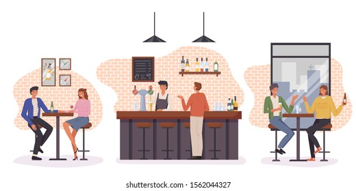 People having fun, sitting and drinking. Happy friends, business people at party vector concept. Colleague business party after work, date with girl, students in a pub. bartender standing at bar stand