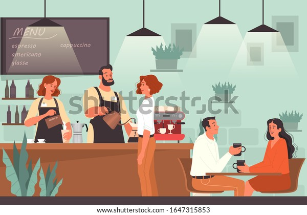 People having lunch in cafe. Female and male characters drink coffee in coffee shop. Business meeting and romantic date in coffee shop, cafeteria interior. Vector illustration in cartoon style