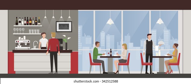 People having lunch in a luxury exclusive rooftop restaurant, city skyline on background