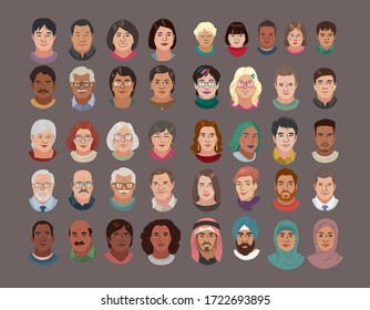 People Head Avatar Set. Different Smile Characters. Man and Woman Portrait Cartoon Illustration. Children and Older people. Chinese African Indian Arab and White Faces. Vector Illustration