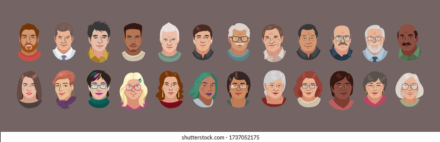 People Head Avatar Set. Different Smile Characters. Adult Man and Woman Portrait Cartoon Illustration. Older people. Chinese African Indian  and White Faces. Vector Illustration