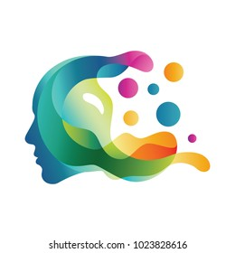 people head logo. human face illustration. mind creative logo