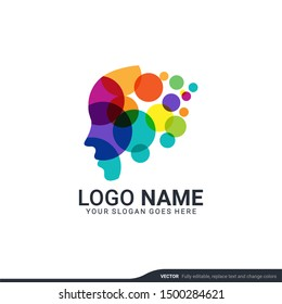 people head logo. human face illustration. mind creative logo