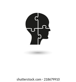 People head with puzzles elements - vector icon