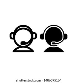 People with headset icon vector as Call center, costumer service, agent support icon for web, business card, mobile app, etc.